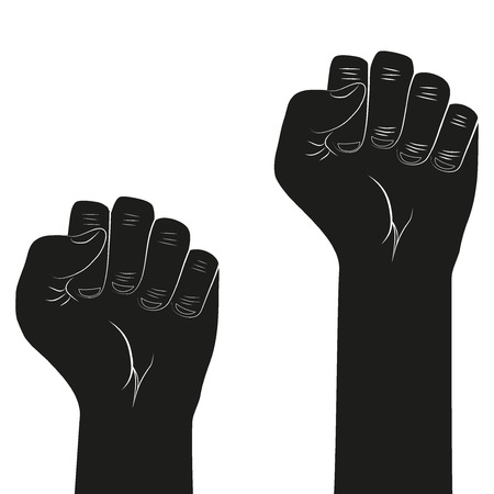 Symbol of clenched fist held in protest Illustration isolated on white background
