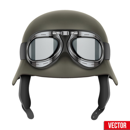 protective goggles: German Army helmet with protective goggles Illustration