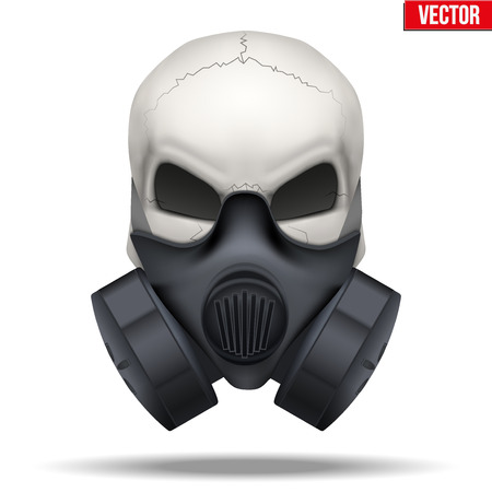 Human skull with Respirator mask isolated white background