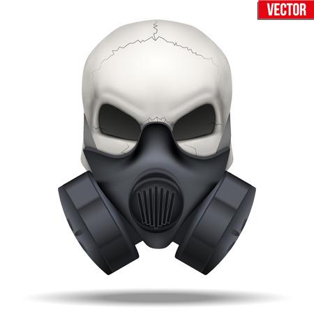 calavera: Cráneo humano con máscara Respirador aislado fondo blanco