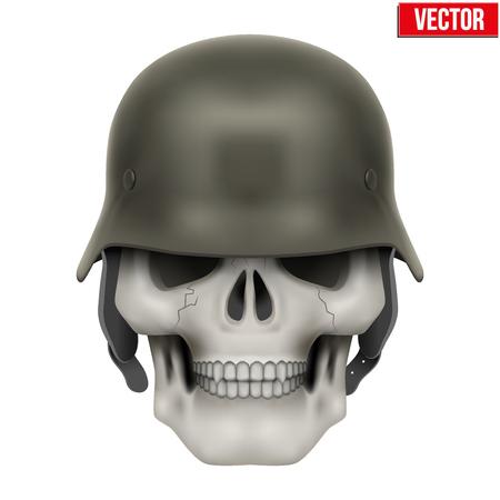 wwii: Human skulls with German Army helmet