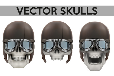 airman: Set of Human skulls with goggles and helmet Illustration on isolated white background