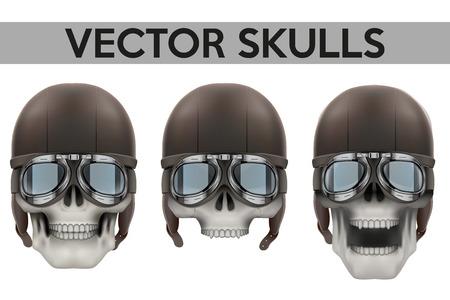 b64108c464be9a  38124529 - Set van menselijke schedels met bril en helm illustratie op geïsoleerde  witte achtergrond