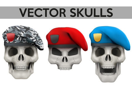 berets: Set of Vector Human skulls with military berets on head Illustration isolated on background Illustration