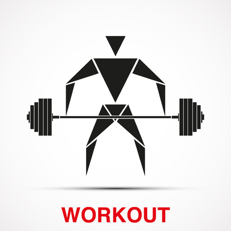 iron cross emblem: Workout symbol with triangle man and barbell