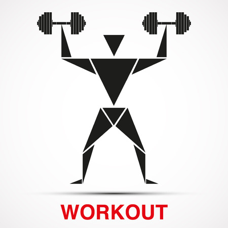 iron cross emblem: Workout symbol with triangle man and dumbbells