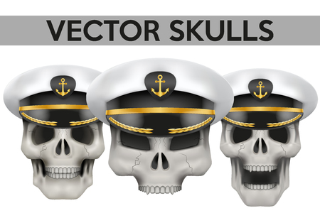peaked: Set of Human skulls with Captain peaked cap on head Illustration isolated on background