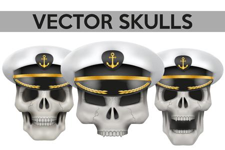 peaked cap: Set of Human skulls with Captain peaked cap on head Illustration isolated on background