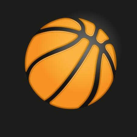 pumped: Soft symbol of orange Basketball ball on black background