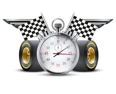 grand prix: Stopwatch and tubes in form wings. Stock Photo