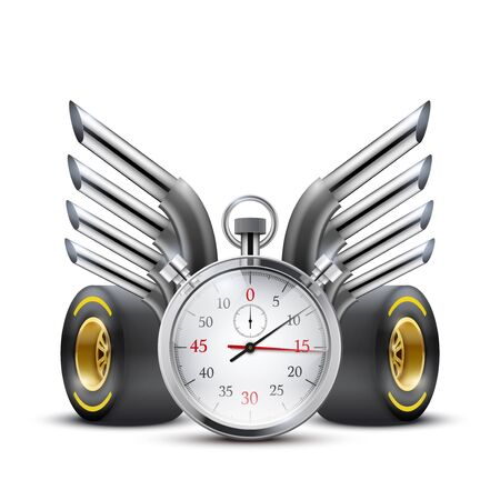 motorsports: Stopwatch and tubes in form of wings.
