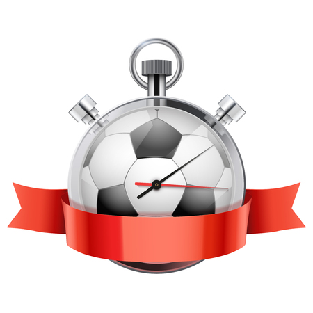 Stopwatch with football ball inside and ribbon. Sport and training. photo