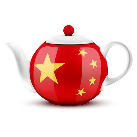 chinese tea pot: Chinese tea ceramic teapot with China flag Illustration isolated on white background.