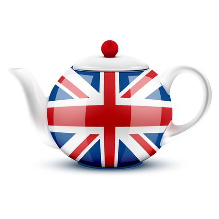 English tea ceramic teapot with flag of Great Britain. Illustration isolated on white background.