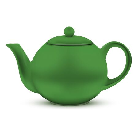 chinese tea pot: Green ceramic teapot. Illustration isolated on white background.