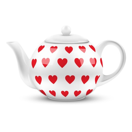 chinese tea pot: White ceramic teapot with hearts texture. Illustration isolated on white background.