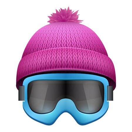 knitten: Knitted woolen cap with snow goggles