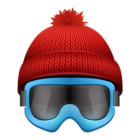 ski wear: Knitted woolen cap with snow goggles