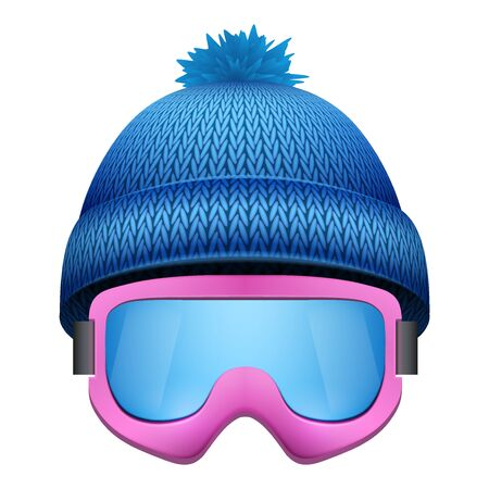 woolen: Knitted woolen cap with snow goggles