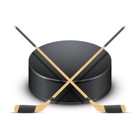 ice hockey puck: Ice Hockey puck and sticks Illustration isolated on white background