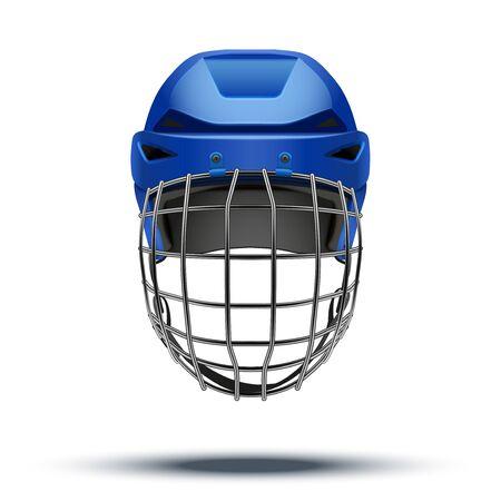 goalkeeper: Classic blue Goalkeeper Hockey Helmet Stock Photo