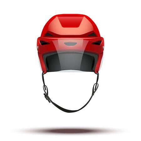 visor: Classic red Ice Hockey Helmet with glass visor Stock Photo