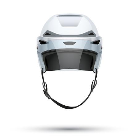 visor: Classic white Ice Hockey Helmet with glass visor Stock Photo