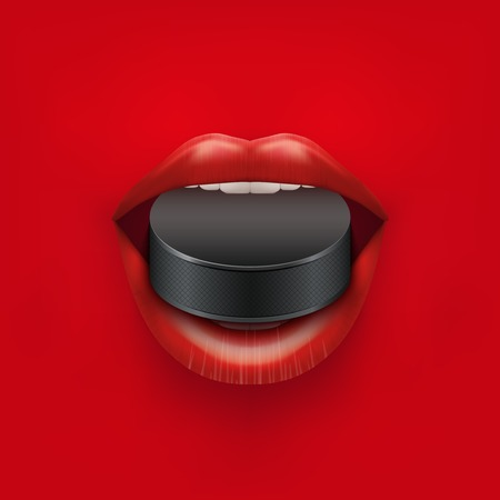 woman mouth open: Background of Woman open mouth with ice hockey puck in lips Stock Photo