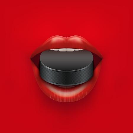 femme bouche ouverte: Contexte de femme bouche ouverte avec la glace rondelle de hockey dans les l�vres