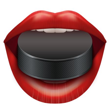 woman mouth open: Woman open mouth with ice hockey puck in lips