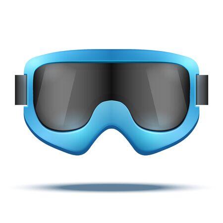 ski goggles: Classic vintage old school blue snowboard ski goggles with black glass