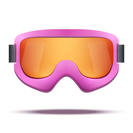 ski goggles: Classic vintage old school pink snowboard ski goggles with colorful glass