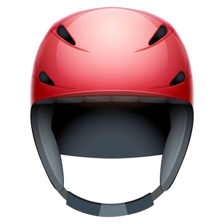 rescuer: Front view of red Emergency rescuer Ski and snowboard helmet