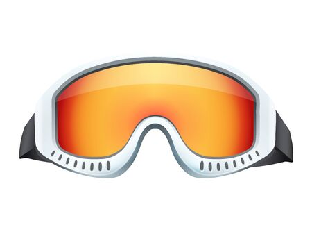 ski goggles: Classic snowboard ski goggles with colorful glass. Isolated on white background Stock Photo