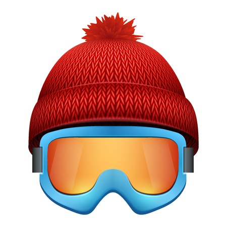 ski wear: Knitted woolen cap with snow goggles. Illustration isolated on white background.