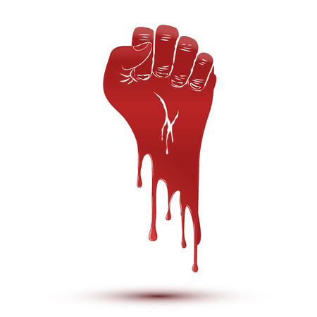 Symbol of blood flow clenched fist held in protest Illustration isolated on white background