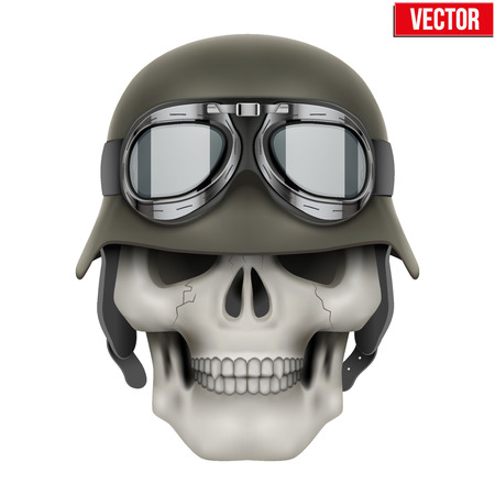 german fascist: Human skulls with German Army helmet Illustration isolated on a white background