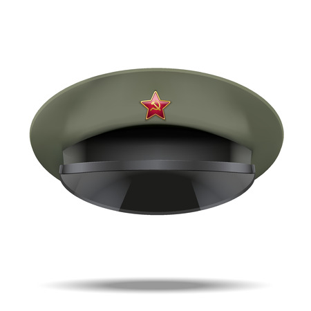 peaked: Russian military officer peaked cap with red star on cockade Illustration isolated on white background