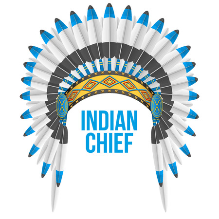 indian chief: Indian chief hat with plumage. Front view. Illustration Isolated on white background.