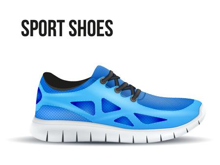 blue shoes: Running blue shoes Illustration isolated on white background.