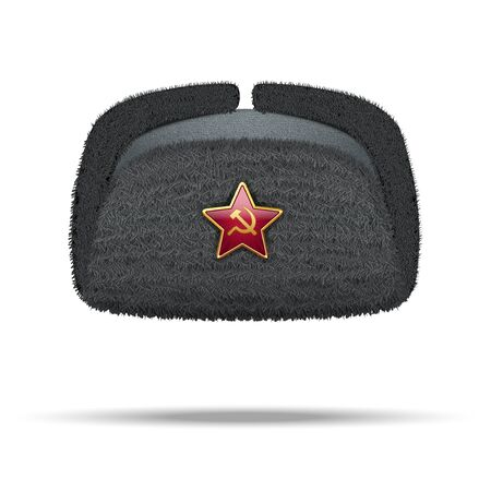 russian hat: Russian black fur winter hat ushanka with red star Illustration isolated on white background.