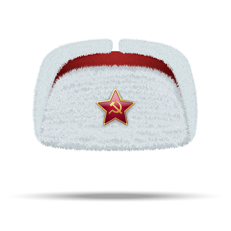 russian hat: Russian white fur winter hat ushanka with red star Illustration isolated on white background.