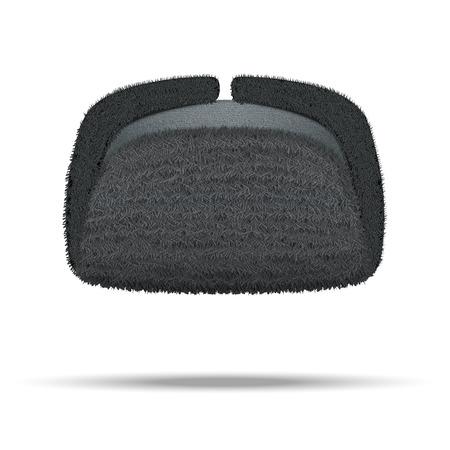 Russian black fur winter hat ushanka illustration isolated on white background. Stock Photo