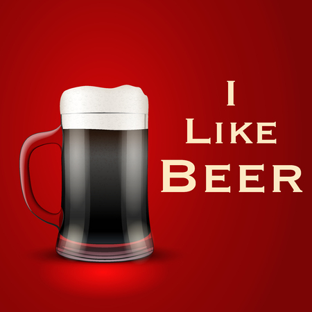 bier: Illustration of I like beer with Mug glass