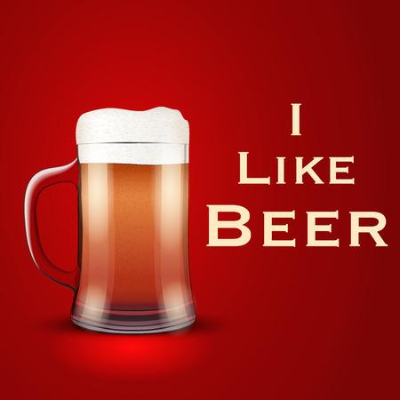 bier: Illustration of I like beer with Mug glass. Illustration