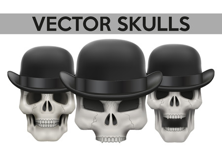 swindler: Set of Human skulls with bowler hat Illustration on isolated white background Illustration