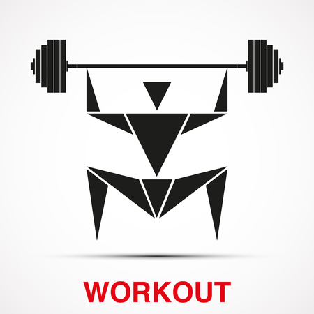 Workout logo with triangle man and barbell. Vector Illustration isolated on background Vector