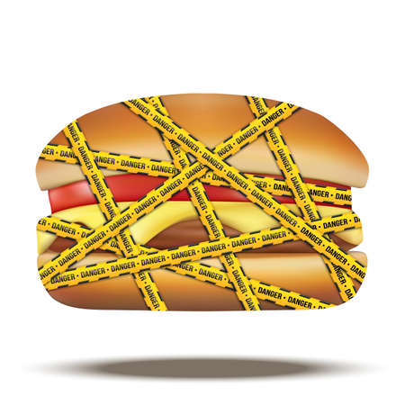 diabetes food: fast food burger with danger warning tapes. Vector Illustration isolated on white background.