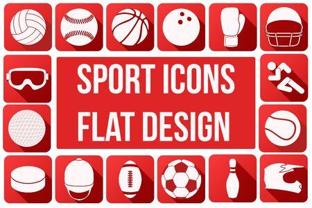 pelota de voleibol: Conjunto de iconos del deporte cuadrados con largas sombras en dise�o plano. Ilustraci�n del vector. Vectores