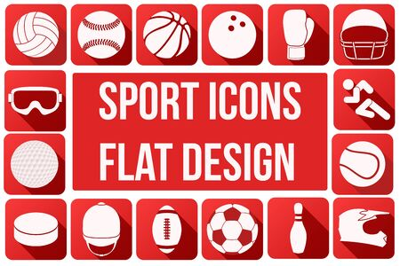 volleyball: Set of square sport icons with long shadows in flat design. Vector Illustration.